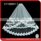 V1158W1-1 Elegant Lace Short Tulle Wedding Veil for Bridal