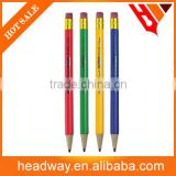 0.5mm/0.7mm HB lead plastic propelling mechanical pencil with eraser