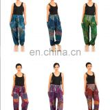 Colourful Peacock - Aladdin Drawstring Trousers Alibaba Hippie Festival Boho Trouser Pants