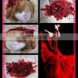 Aidocrystal Red wedding hair accessory headband, red lace flower circlet,bridal flower wreath headpiece