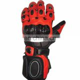 Leather Summer Motorbike Gloves HLI Orange Black, Gloves Motorbike
