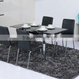 Best seller modern black Glass dining table with tempered glass and chrome leg extendsion size for dining furniture PDT14916                                                                         Quality Choice