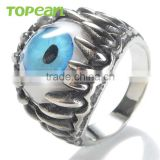 Topearl Jewelry New Design Wedding Dragon Hand Stainless Steel Blue Evil Eye Rings MER140