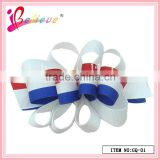 2014 Best selling national flag curly ribbon french barrette hair clips wholesale (GQ-01)