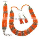 Mystical Beaded Carnelian Rava Work 925 Sterling Silver Jewellery Set, Gemstone Silver Jewelry, Silver Jewelry
