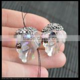 LFD-0069B Wholesale White AB Crystal Glass Skull Connector Beads, with Rhinestone Paved Spacer Loose Bead Jewelry Making
