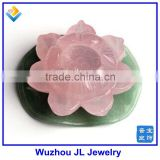 2015 Newest Rose Natural QUARTZ CRYSTAL lotus flower and Green lotus leaf Carved Healing