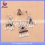 Alibaba express high quality triangle jewelry set black agate with thai silver gemstone silver jewellery (6305T3)