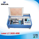 2015 New Version 40W LY 3020 CO2 Digital laser engraving cutting machine with digital function with Drag chain design