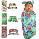 Newborn baby swaddle wrap cotton soft Blanket & Swaddling Wrap Blanket and headband set wh-1820