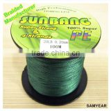 Wholesale Outdoor Fishing Tackle Japan Super Strong 100% PE Multifilament Sea Fishing Braid Line 4PLY 20lb SUNBANG Dark Green