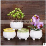 2016 colorful table round porcelain flower pot ceramic plant pots yellow for wholesale