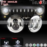 2015 China 4x4 accessories, 7 Inch Car LED Projector Headlight DOT Approved Round Head Light with Halo ring for JK