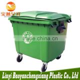 1377x1077x1250mm new polyethylene HDPE green china outdoor 1100l plastic waste bin with wheels and covers