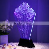 Rose shape rectangle lighted display base 3d optical illusions led night light baby decoration night lamp