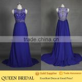 Real Sample Sleeveless Bead Embroidered Royal Blue Evening Dress For Seniors                                                                         Quality Choice