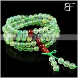 Men' Women's Natural Prehnite Color Agate Tibetan Buddhist Beads Prayer Buddha Mala Bracelet Link Chain Wrist Necklace