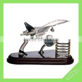 Fashion airplane model office stationary set with clock and pen holder for table decoration