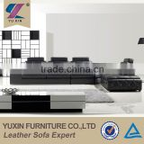 Contemporary black sectional genuine leather sofa