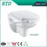 HTD-K807A Wall hung mounted hanging mounting toilet with concealed cistern/water tank concealed for wall hung toilet