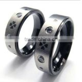 black engraved tungsten ring with diamond for men