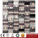 IMARK linear gold foil mosaic mix diamond mosaic, resin mosaic, Electroplate Glass Mosaic Wall Tile For Bathroom/Homedepot
