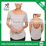 Ramax Custom Women Boat Neck Short Sleeve Backless Yoga Workout T-Shirts Tops