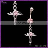 Wholesale Gem Paved 14 Gague Surgical Steel Angel Wing Magnetic Navel Rings