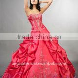 Style XZ-pd1222 strapless red taffeta ball gown floor-length beaded bodice quinceanera dress