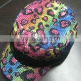 Girls sequin fashion flat top cap children military cap