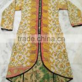 wholesale handmade Vintage Cotton Kantha long Jacket Reversible Handmade Sari Jacket Old Gudri Ethnic Designer Jacket