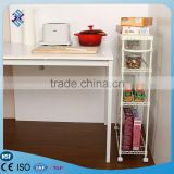 4 Tiers Commercial Restaurant Kitchen Steel Kitchen Service Utility Trolley , Steel Wire Rolling Cart