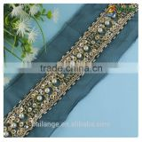 2016 fancy new design rhinestone sequin beaded lace wholesale in guangzhou