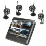 2.4Ghz Digital Video Security System 7'' LCD 4Channels Long Range Camera DVR Kit