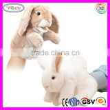 D776 High Quality Long Fur Animal Puppet Rabbit Stuffed Toy Plush Puppet