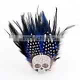 Fashion large full rhinestone skull brooches peacock feather corsage brooch all-match formal dress clothing clasp