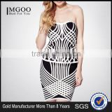 MGOO 2015 OEM Services Two Sets Women Dress White Black Slim Fitting Wholesale Strapless OL Sexy Dress H1108