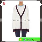 Wholesale Pure White V-Neck Rib-Knit Cashmere Women Sweater with Buttons Fastening and Slant Pockets