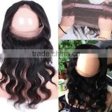 Alibaba Virgin Human Hair Lace Closure Ear To Ear Elastic 360 Lace Band Frontal Closure With Baby Hair Bleached Knots