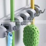 Silver-gray Multi-function Wall Rack Household Good Helper Wall Mounted Plastic Mop Holder
