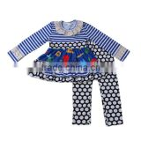 Sue Lucky China manufacturer baby girls knitted clothing sets printed fabric legging pants set