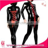 Black PVC Leather catsuit sey leather costumes laced up Shiny wet look catsuit