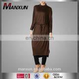Muslim Women Batwing Like Long Tunic Top Moroccan Tunic Knitted Fabric Abaya Dress with Belt
