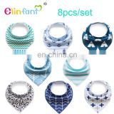 Elinfant 8 Stylish Design for Baby Shower Gift Set Baby Bandana Bibs 8 Pack for Girls