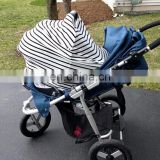 Small stripe organic cotton infant car seat canopy with carrying bag