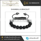 Wide Varieties of Premium Quality Black Bead Shamballa Bracelet at Low Price