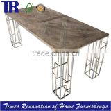 Stainless Steel Legs Dining Table,Solid Wooden(OAK/ELM) Top Dining Table,Square Dining Table                                                                                                         Supplier's Choice