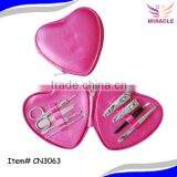 PU pink heart shape pouch wholesale manicure set mother day gift                                                                         Quality Choice