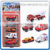 Mini Qute kids 5 in 1 Die Cast pull back alloy fire control fighting truck vehicle diecast model car educational toy NO.MQ 513B