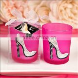 Sparkly High Heel Shoe On Hot Pink Votive Candle Holder Personalized tealight Favors
